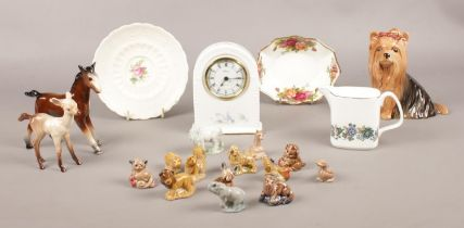 A group of ceramic's. Sylvac Yorkshire Terrier dog 5027, Aynsley 'Little Sweetheart' mantle clock,