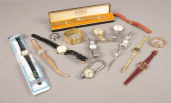 A quantity of ladies and gents wristwatches. Including Sekonda, Edox, cased Excalibur, etc.