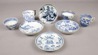 A collection of antique English and Chinese porcelain. Includes late 18th century Lowestoft saucer.