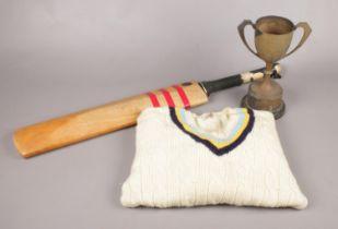 A YCCC Sweater, 'The Harrop Trophy' & a signed Shaw & Shrewsbury Test Special Cricket Bat. Trophy: