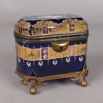 A 19th century blue glass & gilt metal mounted domed top casket. With hinged lid & ornate