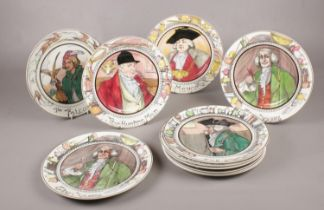 A collection of Royal Doulton plates. The Hunting Man, The Doctor, The Mayor, The Falconer