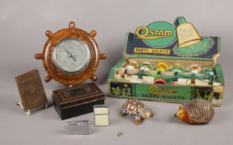 A group of collectables. Wade ceramic Tortoise & Hedgehog ornament, Osram Party lights (boxed),