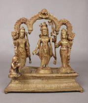 A cast metal multi figured statue of Hindu deities. H: 15cm, W:22cm, D: 9cm. Condition fair.