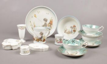 A group of ceramics. Wedgwood 'Mirabelle' trinket, pin dish example etc .Dream Weavers Denby