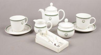 A Royal Doulton tea set for Raffles Hotel Singapore. Teapot, sugar bowl, tea cups/saucers examples
