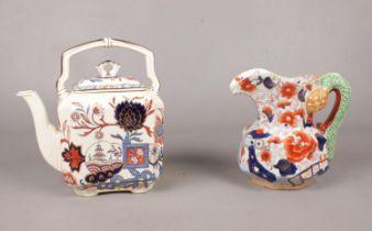 A group of Mason's ceramic's. Octagonal Hydra Jug, 'Oriental kettle, 'Franklin' & 'Prince of