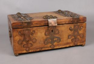 A Early 20th century pine and hardwood jewellery box. with copper mount decoration. (14cm height,
