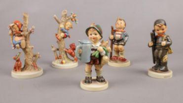 Five Hummel Goebel figures. Little Hiker, Chimney sweep, Apple tree girl examples etc.