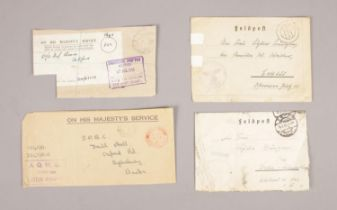 Military Ephemera from WW2 - Two British 'On His Majesty's Service' examples & two German examples.