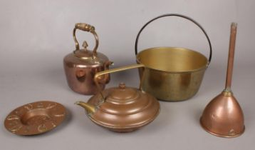 A quantity of mostly copper. Including teapot, brass jam pan, small hammered copper dish impressed