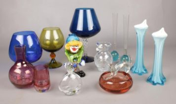 A collection of glassware's. Burns Crystal decanter (12cm height), Tipperary crystal vase (13cm