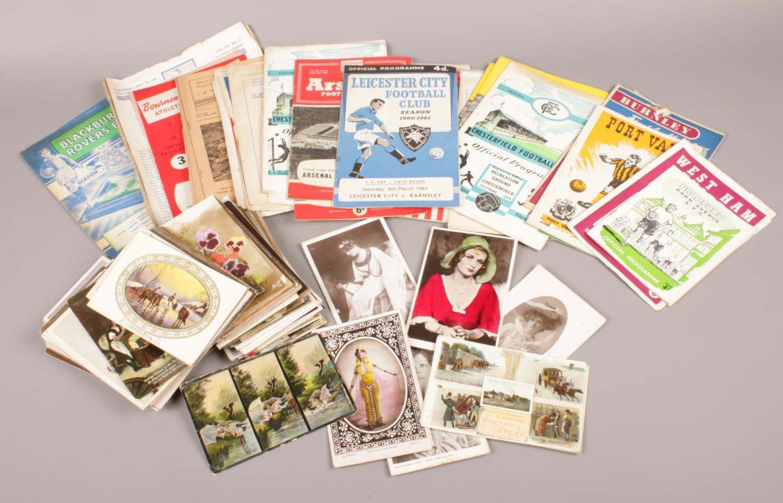 A collection of Ephemera. Vintage postcards, Football programmes, West Ham United, Norwich City,