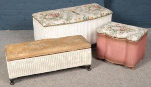 Three pieces of Lloyd loom. Including blanket box, etc.