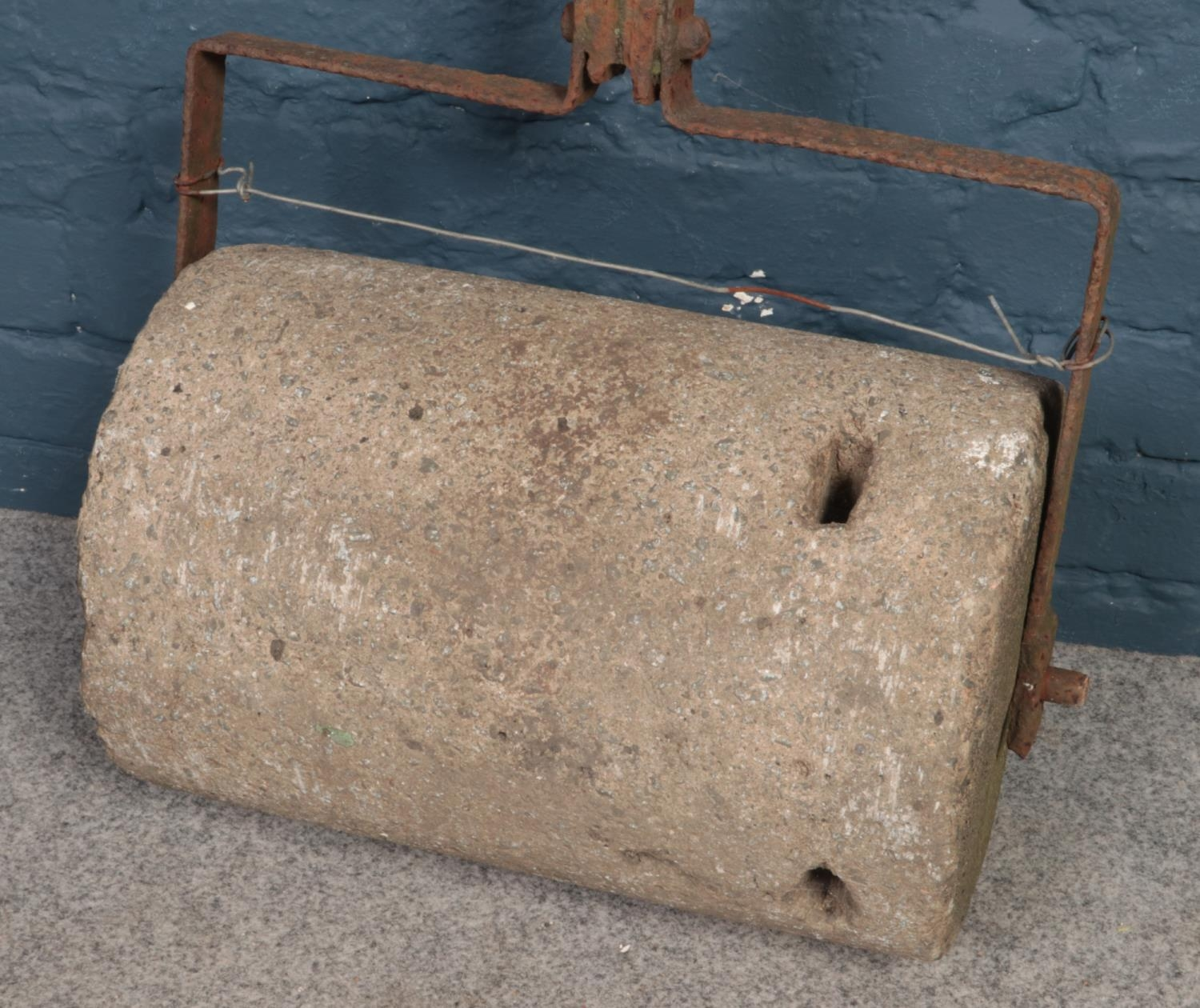 A vintage cast iron and heavy concreate garden roller. H: 140cm, W:44.5cm. Condition age worn. - Image 2 of 2