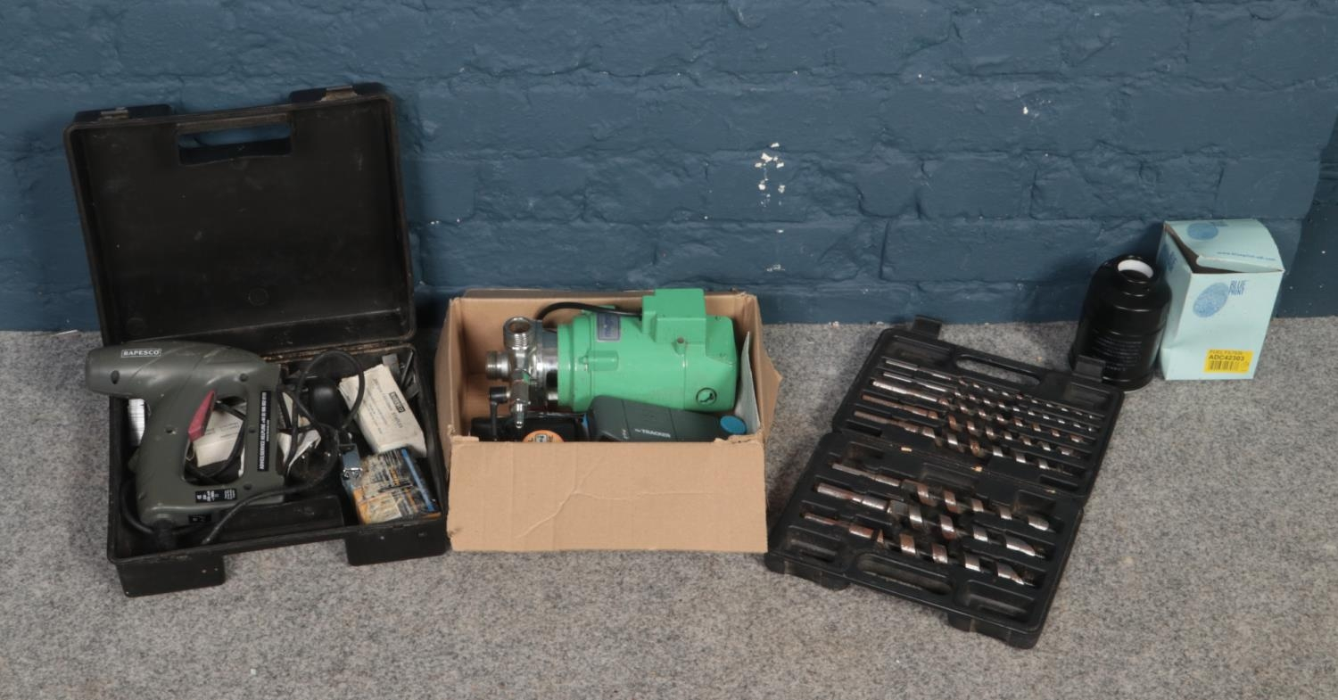 A collection of tools - comprising of a cased 'Rapesco' electric stapler with extra staples, a cased