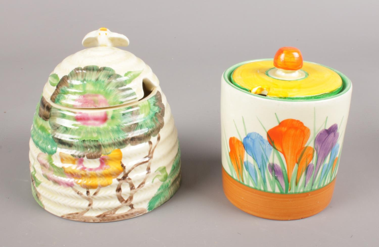 Two pieces of Clarice Cliff. Includes Aurea beehive honey pot, along with a Royal Staffordshire
