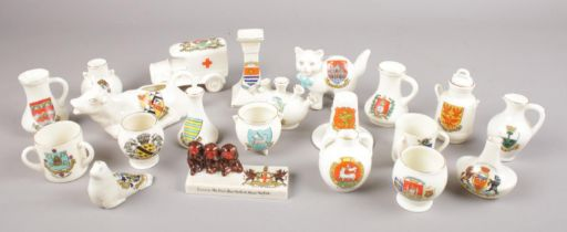 A collection of crested china. Includes Carlton Speak No Hear No See No, Grosvenor, Arcadian etc.