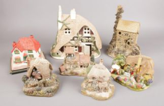 A collection of model cottages. Includes Lilliput Lane, musical example, clock etc.