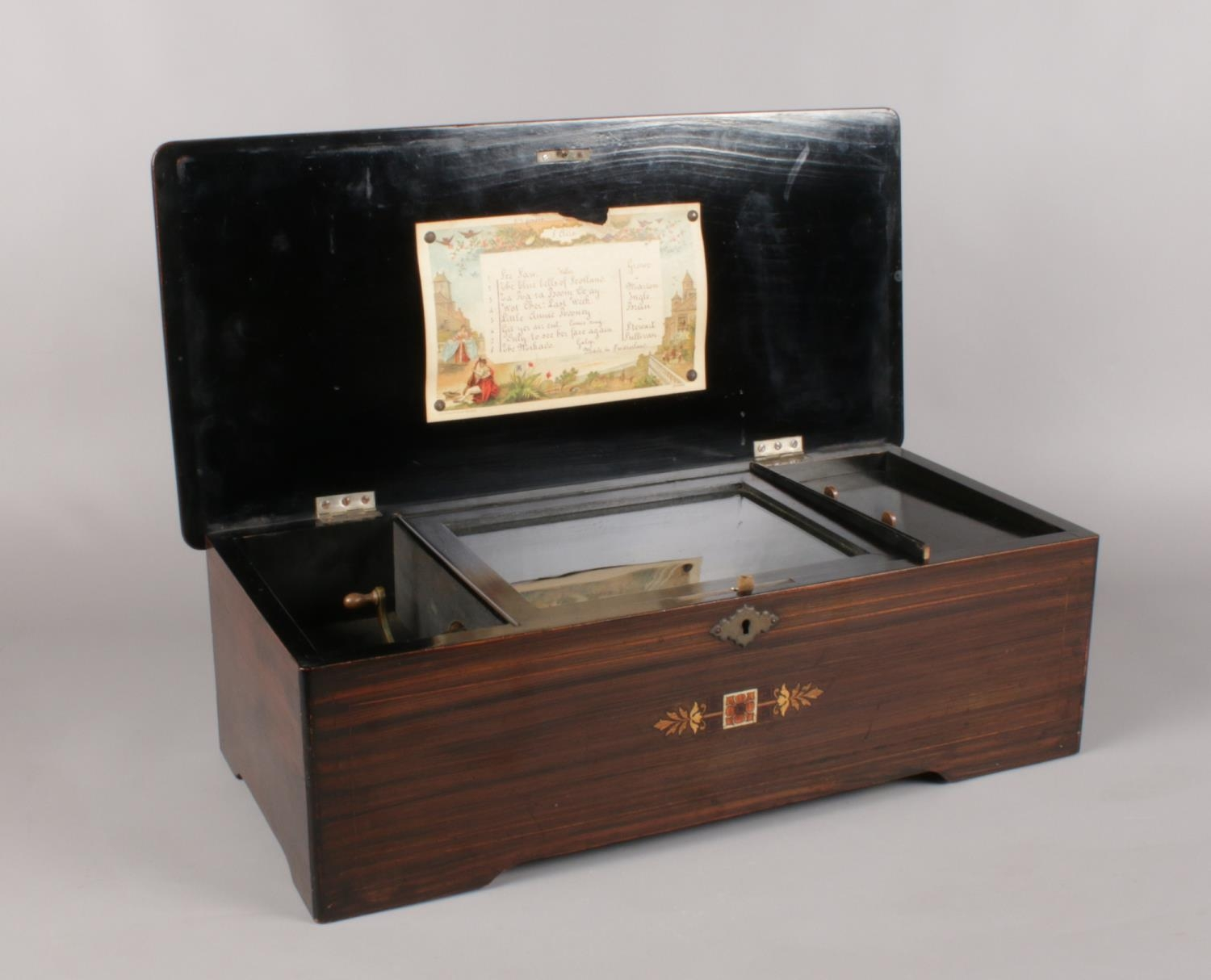 A late 18th C/Early 19th C Swiss inlaid Rosewood Music box. the hinged lid enclosing music box - Image 3 of 4