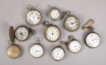An assortment of ten pocket watches. Includes Paget & Co full hunter, Superior Railway Timekeeper,