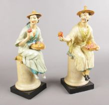 A pair of Royal Worcester figures. La fleur and le panier, both modelled by A Azori. (