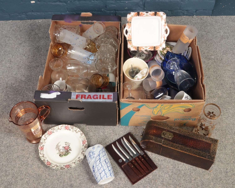 Two boxes of miscellaneous. Includes lemonade jug, glass goblets, Doulton's etc.