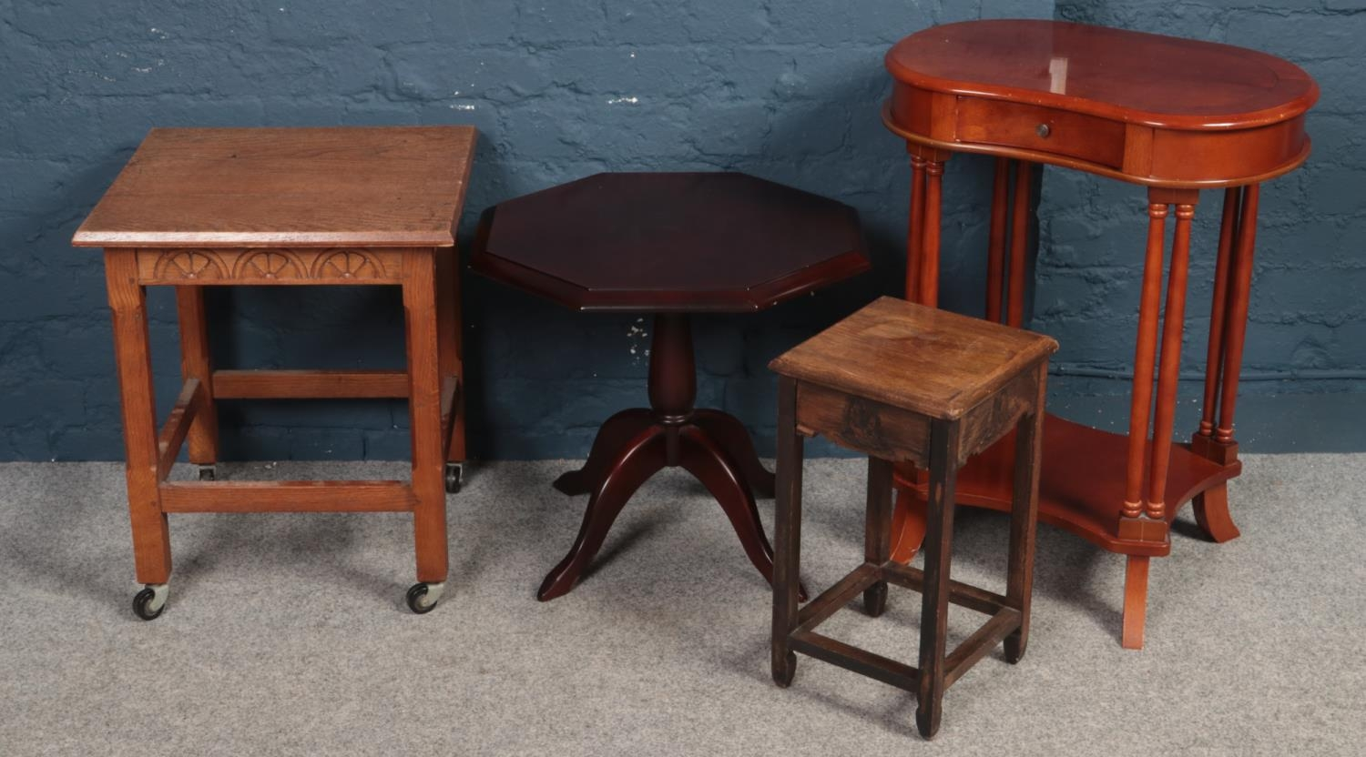 Four pieces of occasional furniture. Including oak trolley, mahogany octagonal table, etc.