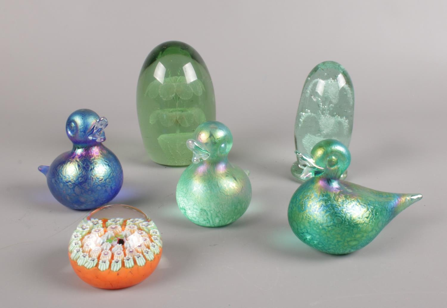 A group of glass paperweights. Victorian glass dumps to include three John Ditchfield glasform