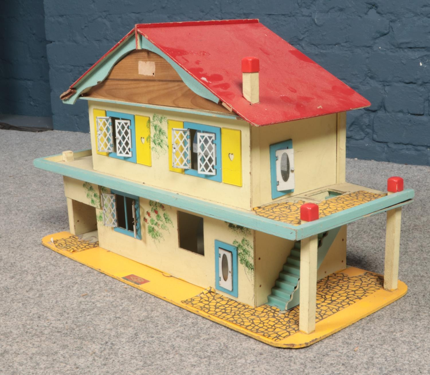 A Gee Bee Toys wooden dolls house. (68cm width, 42cm height, 29cm depth) Age/play worn - Image 2 of 2