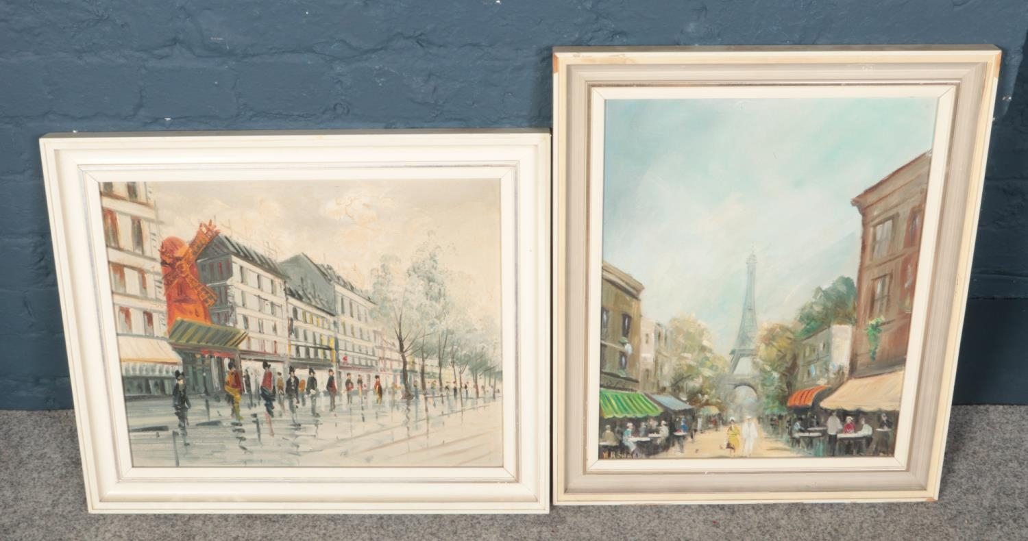 Two framed oil on canvas paintings. Including scene of Paris example, etc.