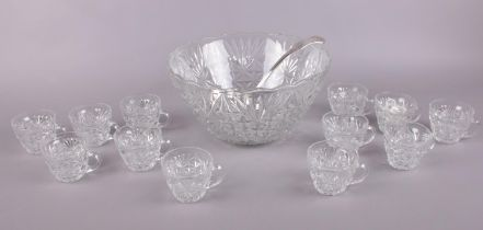 Large crystal punch bowl with 12 punch cups & silver plated ladle.