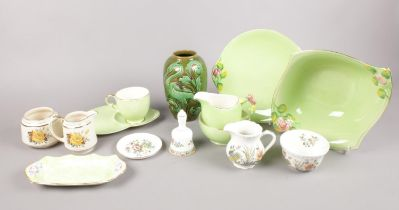 A collection of various named ceramics - to include a Royal Winton group with rose pattern, Coalport