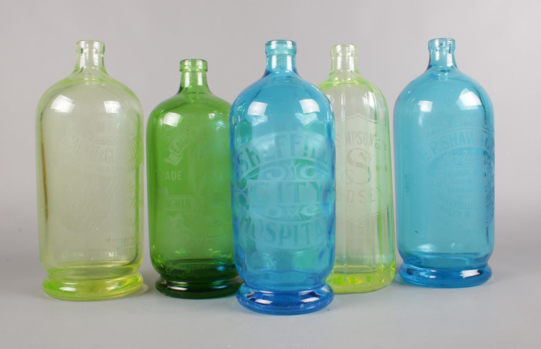 Five vintage glass bottles. Sheffield City Hospital, Eagle Brewery Lowestoft, W.C. Simpson & Co