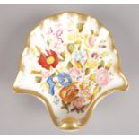 A Hammersley Bone China shell dish. 'Queen Anne' pattern, hand painted with gold borders. (15 x14cm)