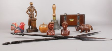 A group of mainly Treen collectables. African hardwood carved spears (71cm length), Ouro Artesania