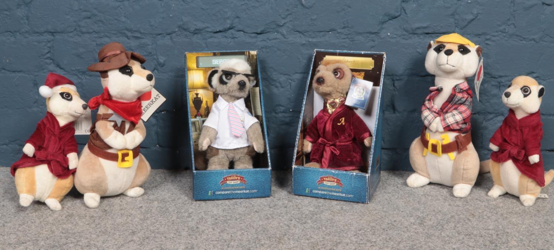 A group of Meerkat soft toys. Compare the meerkat Sergei & Aleksandr examples etc.