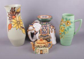 A group of ceramics. Brentleigh ware 'Delwood' vase, Ranleigh 'Alton' vase, Keele pottery teapot