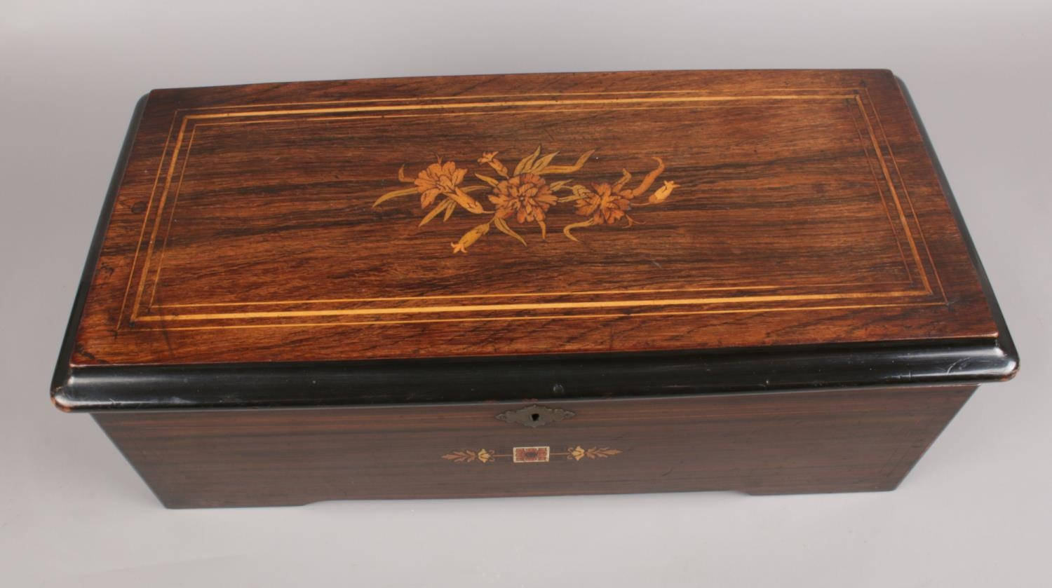 A late 18th C/Early 19th C Swiss inlaid Rosewood Music box. the hinged lid enclosing music box - Image 2 of 4