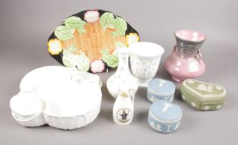A collection of ceramics. Includes Maling, Wedgwood, Royal Worcester etc.