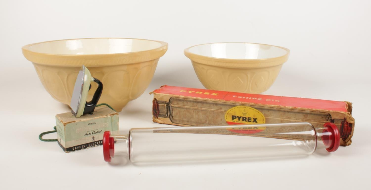 A group of kitchenalia. Two Gripstand ceramic bowls, vintage Pyrex oven table glass rolling pin (
