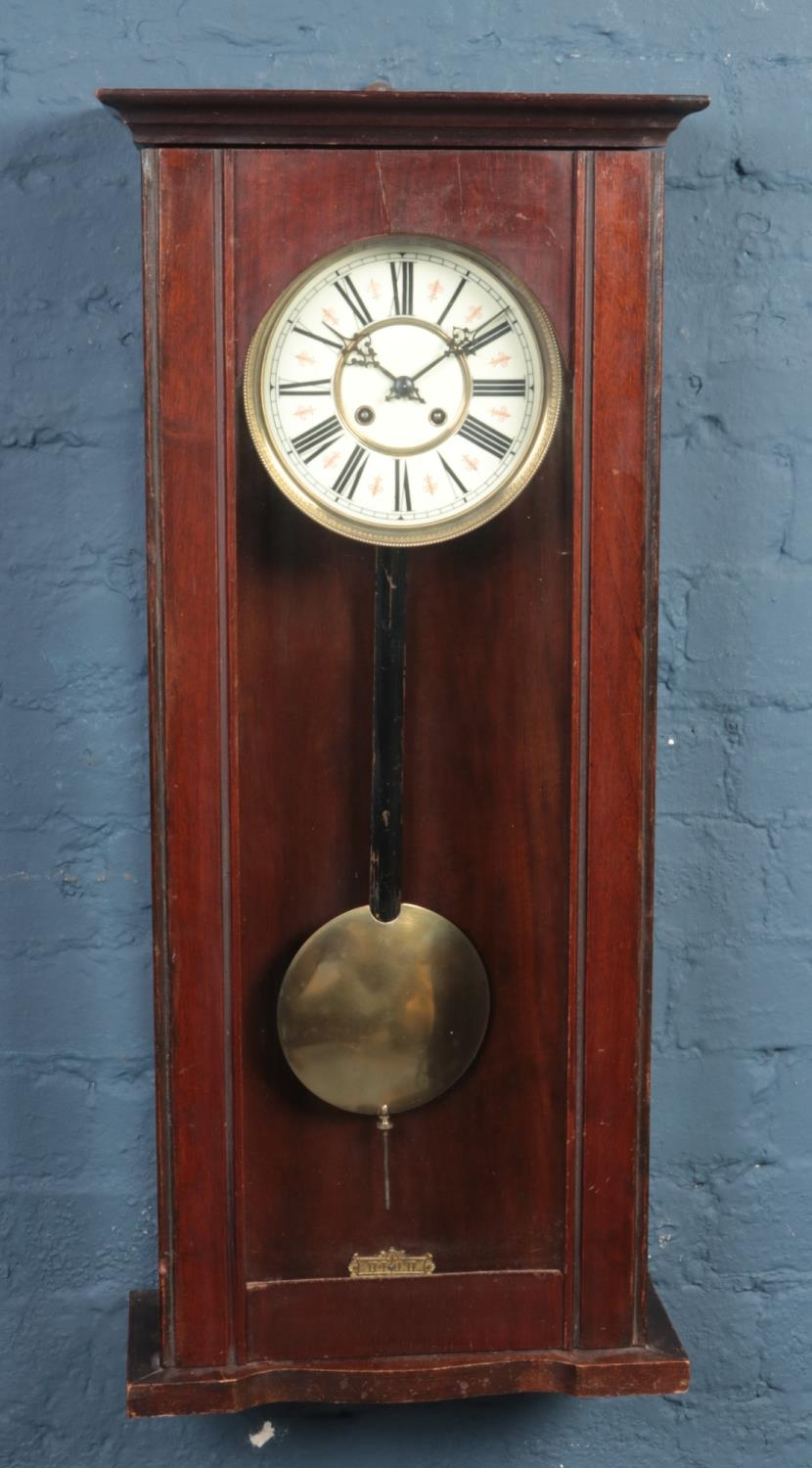 A Victorian mahogany Vienna spring driven eight day wall clock, chiming on a coiled gong 84cm