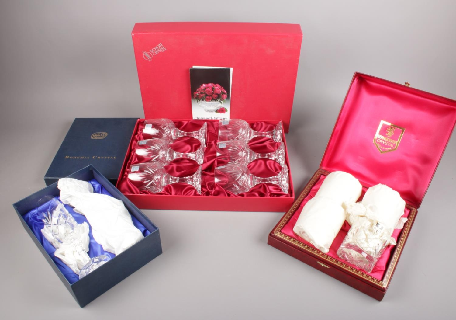 Three boxed sets of crystal drinking glasses. Includes Edinburgh, Bohemia and Schott.