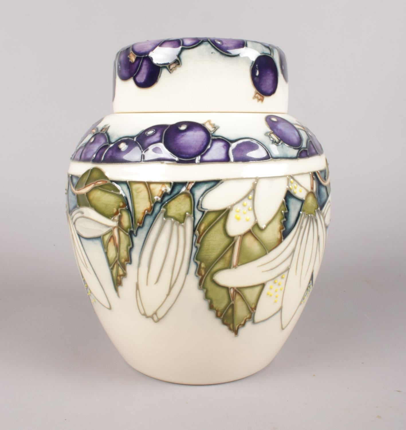 A Moorcroft ginger jar - decorated with blueberries & white flowers (Juneberry), dated 2000. H: