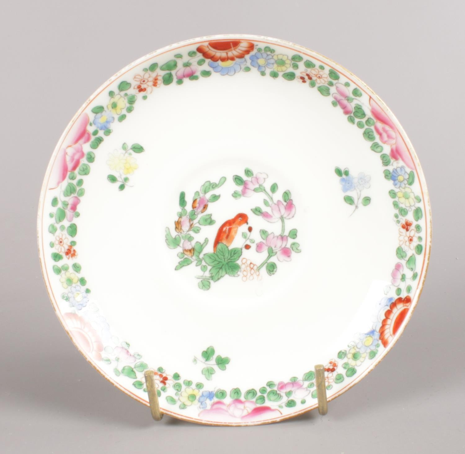 A Royal Worcester hand-painted small bowl and saucer. Decorated in the Worcester parrot pattern with - Image 3 of 4