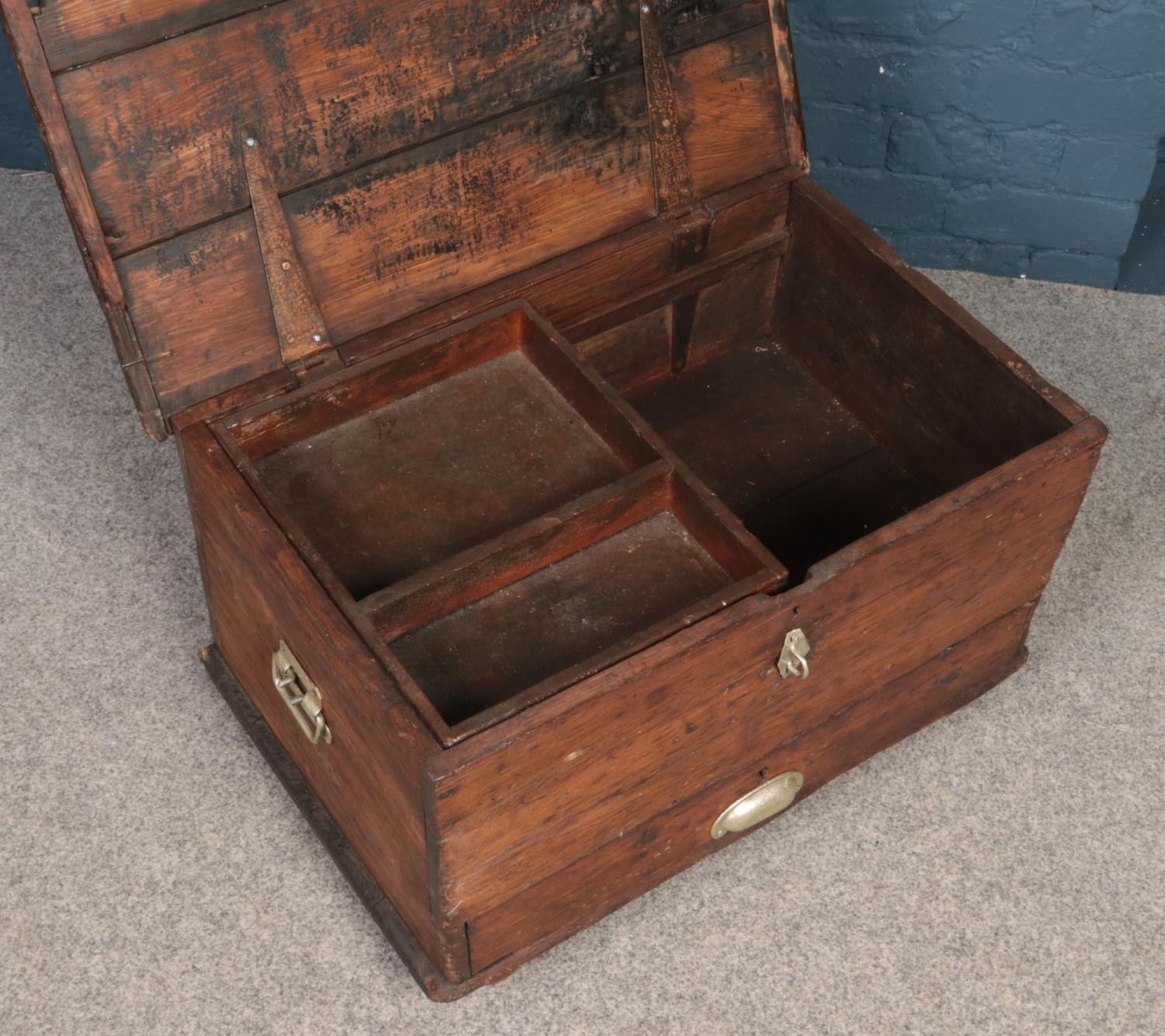 An antique twin handle pine chest with drawer to base. - Image 2 of 2