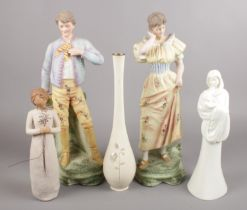 A mixed group of mainly figures. Includes Willow Tree, Royal Worcester Moments, pair of bisque