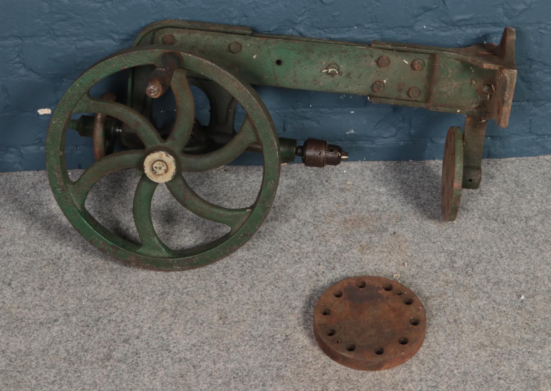 A vintage pillar drill.