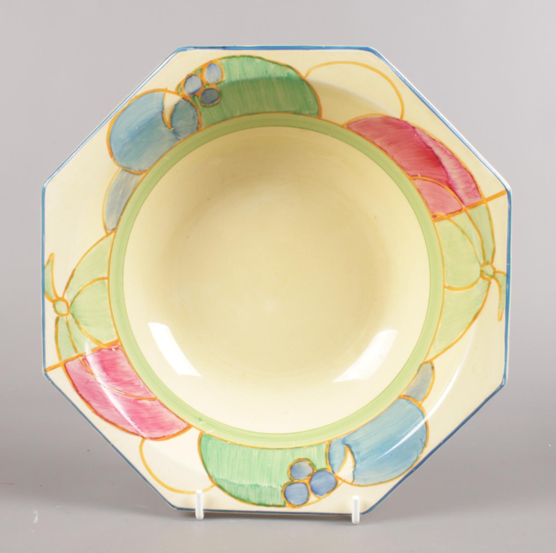 A Clarice Cliff Bizarre fruit bowl in the Pastel Melon design. (Diameter 23cm). Good condition.