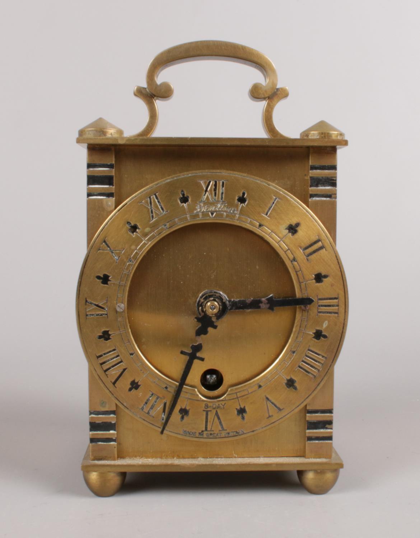 A vintage Bentima brass 8 day lantern clock. (10cm height)